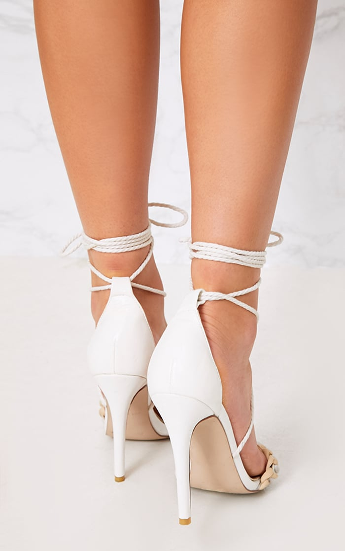 Enya White Contrast Piping Lace Up Heels  4
