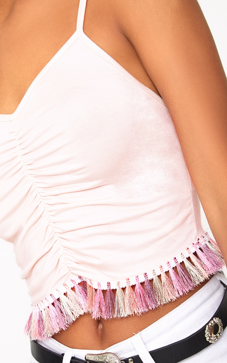 Baby Pink Ruched Tassel Trim Cami Top  5