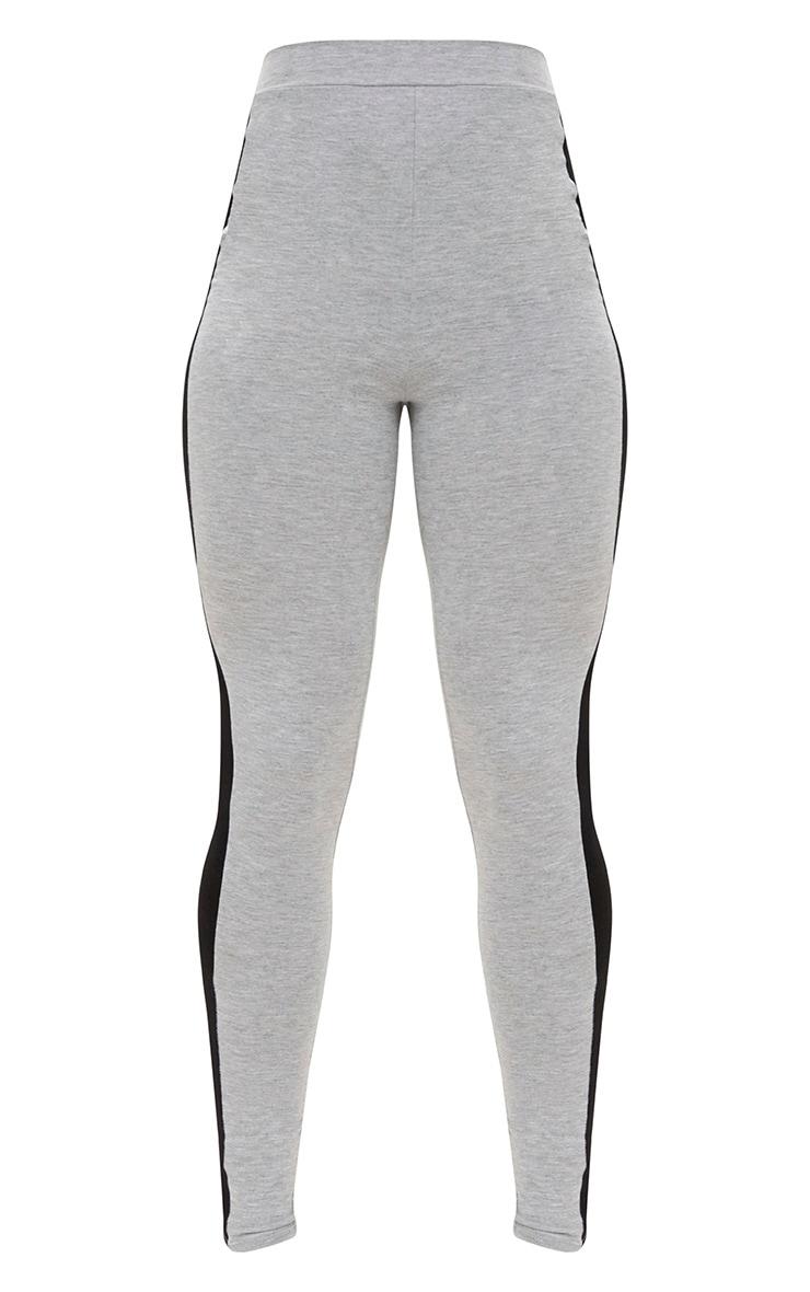 Grey Marl Contrast Stripe Leggings 3