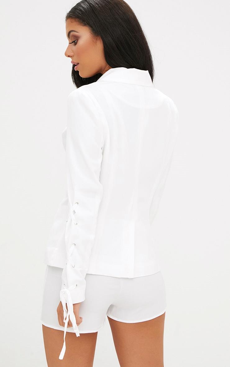 White Lace Up Sleeve Blazer 2