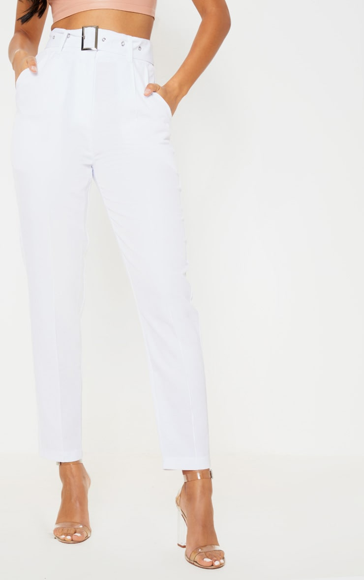 White Belted Tailored Trouser 2