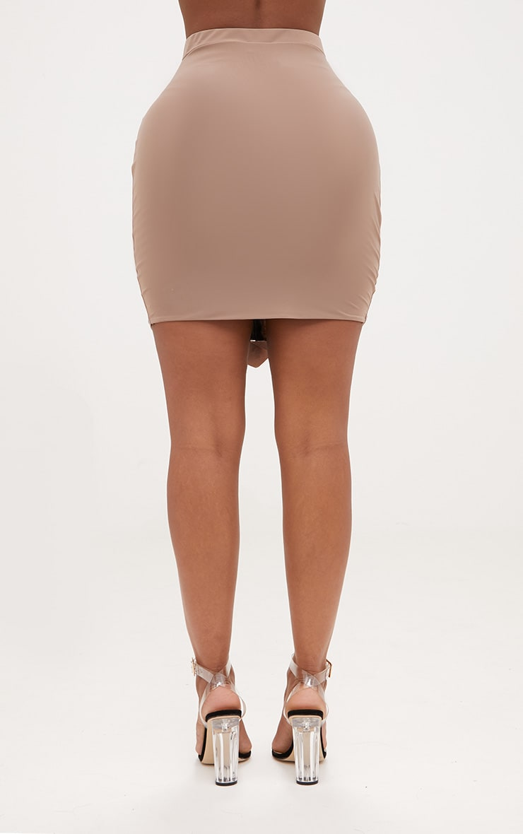 Shape Taupe Ruched Zip Front Mini Skirt  4