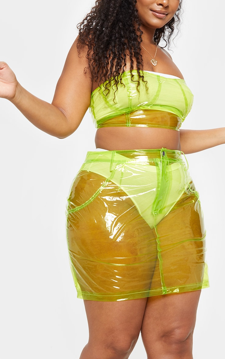 Plus Lime Transparent Zip Up Bandeau Bralet 4