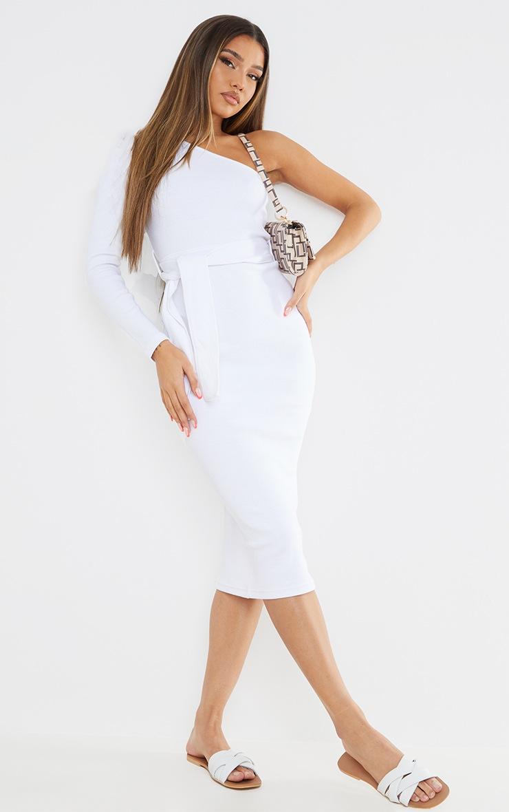 White Thick Rib One Shoulder Tie Waist Midi Dress 3