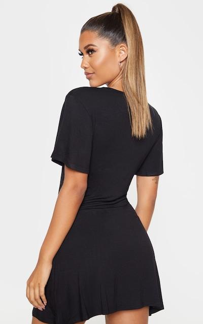 Black Gathered Bust Shift Dress