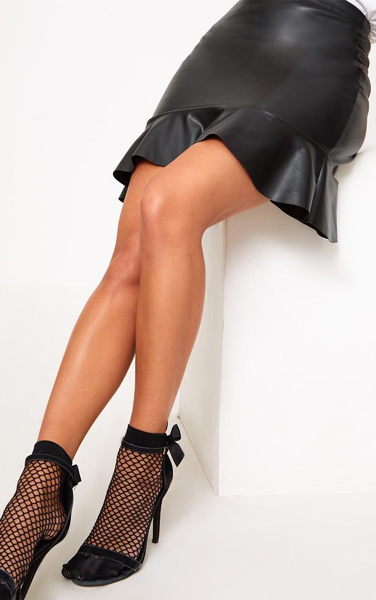 Black PU Frill Hem Mini Skirt 5