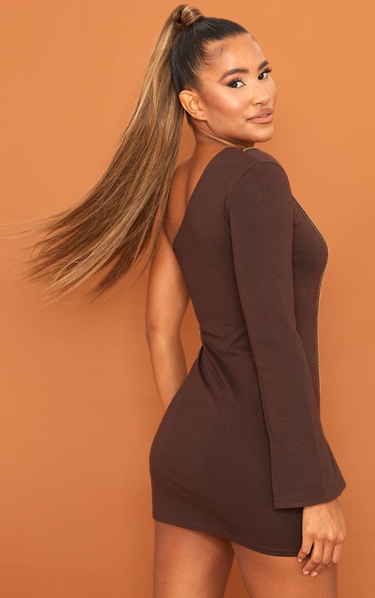 Chocolate Asymmetric Binding One Shoulder Bodycon Dress 2
