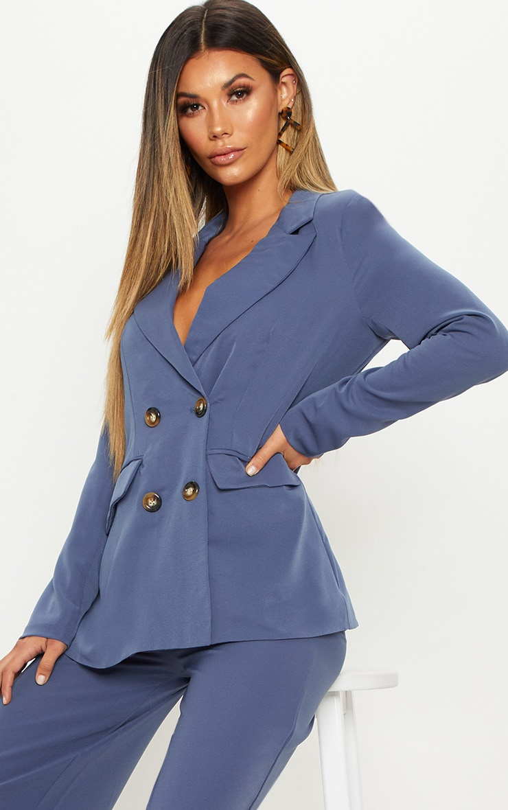 Blue Oversized Button Detail Woven Blazer 1