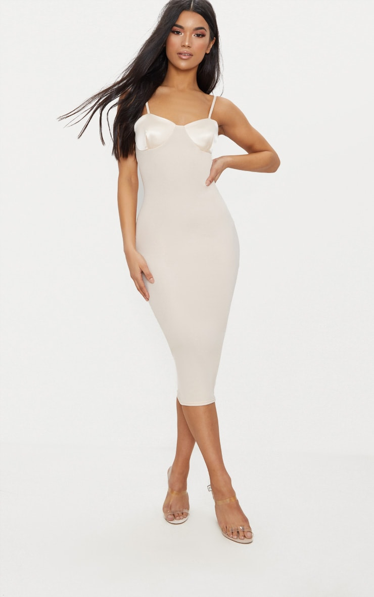 Cream Satin Cup Detail Midi Dress 1