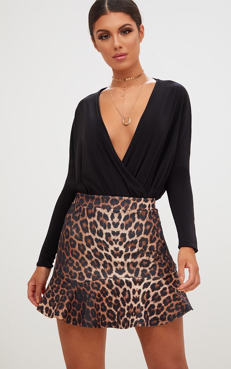 Brown Leopard Print Flippy Hem Mini Skirt  1