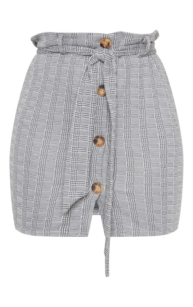 Grey Check Button Front Tie Waist Mini Skirt 3
