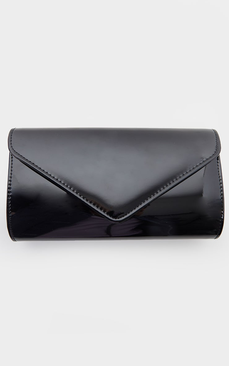 Black Patent Medium Envelope Clutch Bag 2