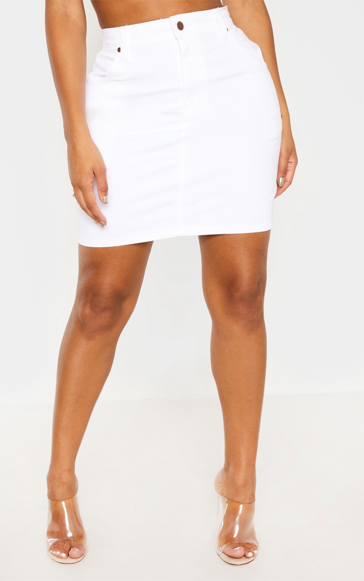 Shape White Denim Mini Skirt  2