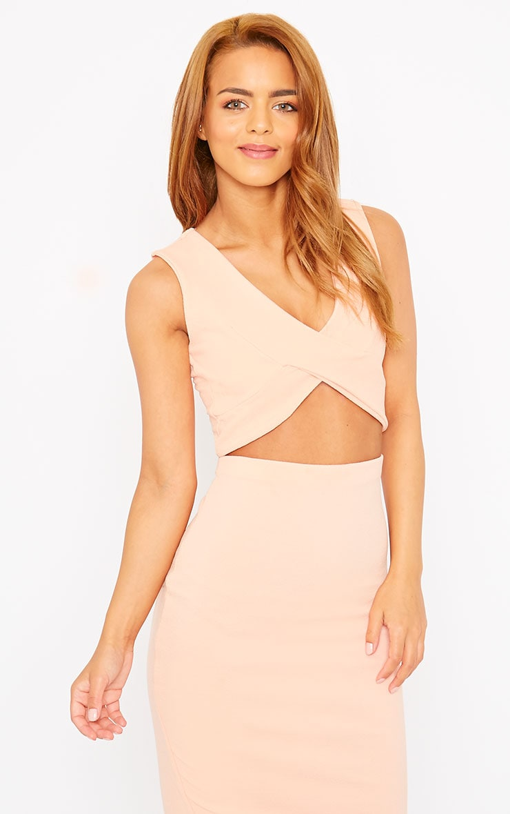 Tess Nude Crepe Cross Front Crop Top 1