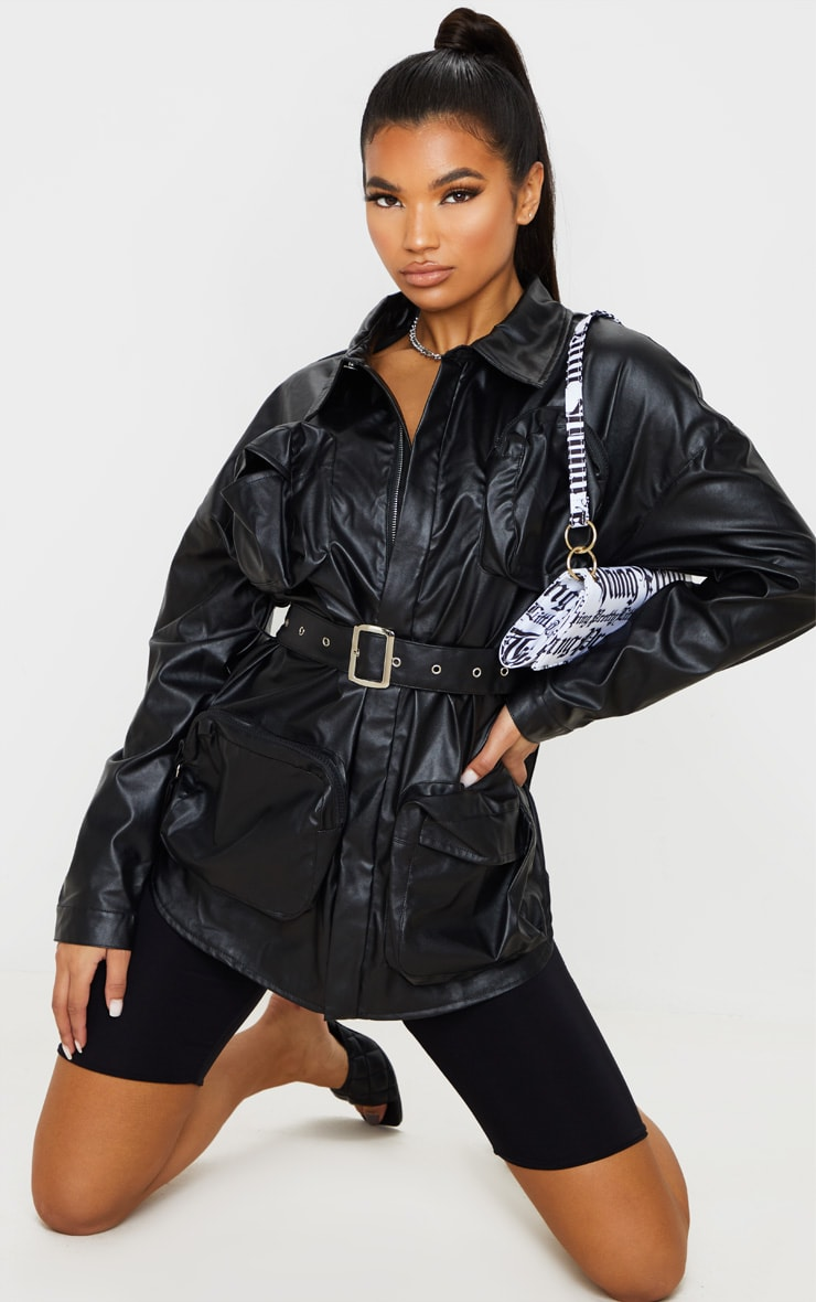 Black Faux Leather Utility Pocket Belted Jacket 2