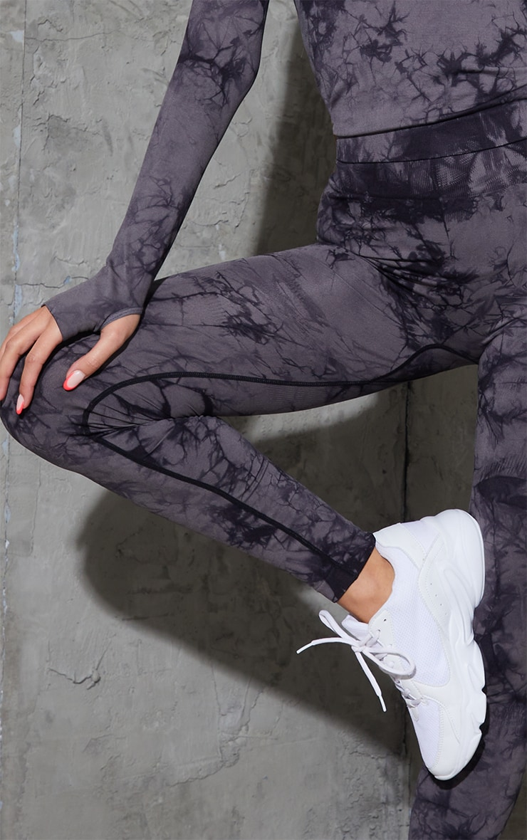 Grey Tie Dye Seamless High Waist Gym Legging 4