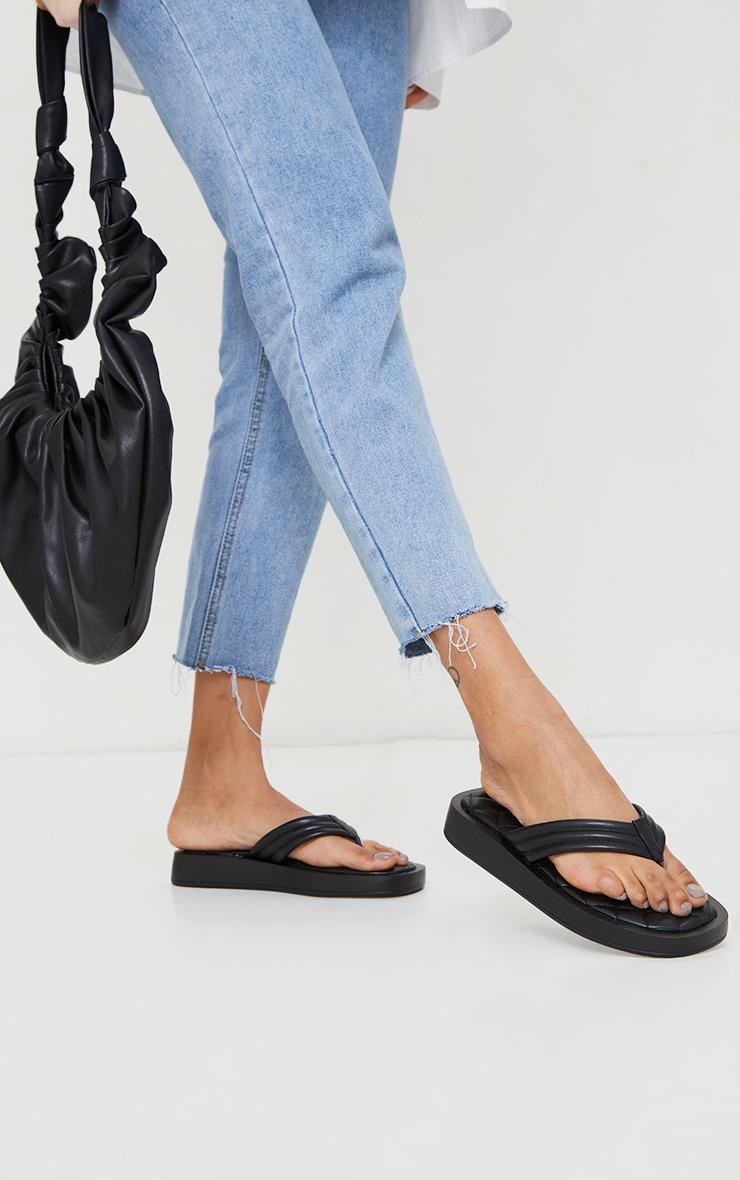 Black Chunky Sandal Quilted Toe Post Flip Flops 4