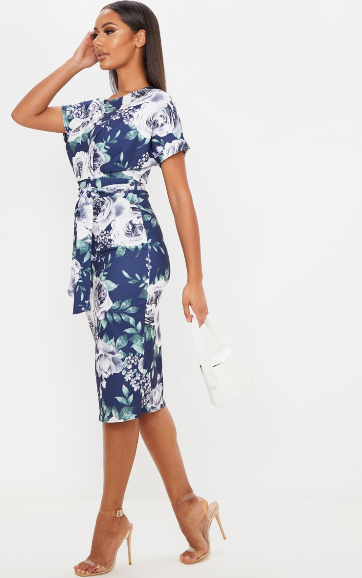 Navy Floral Print Short Sleeve Tie Waist Midi Dress 3