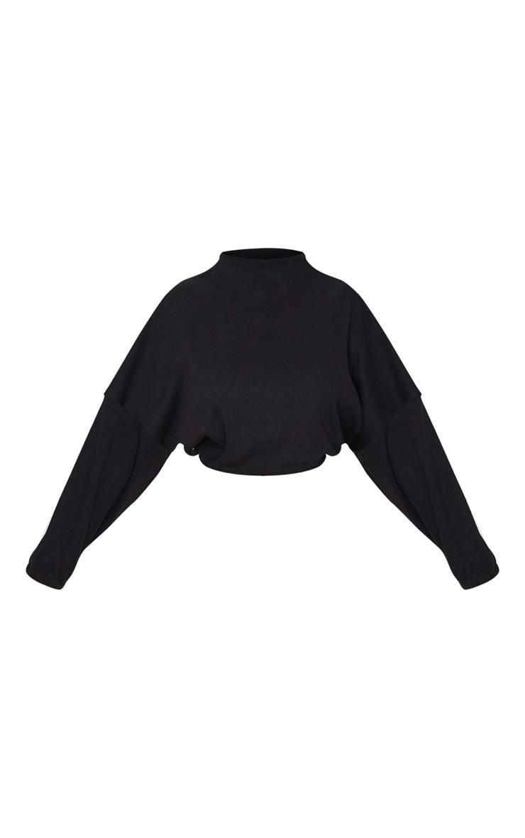 Petite - Top court très côtelé noir à manches ballon 3