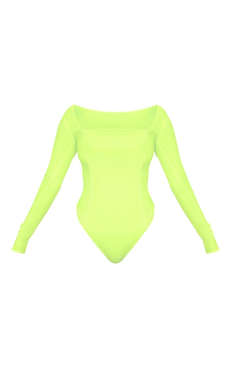 Neon Yellow Ruched Long Sleeve Bodysuit 3