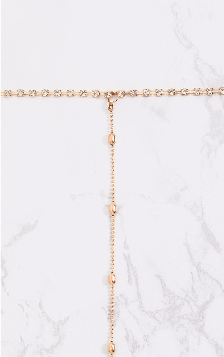 Gold Diamante Choker and Bead Drop Necklace 3