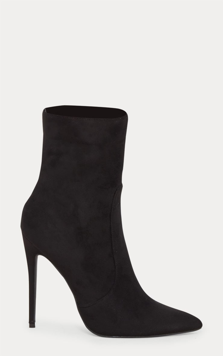 Black Faux Suede High Ankle Boot 4