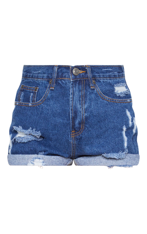 Mid Wash Turn Up Denim Mom Shorts 3