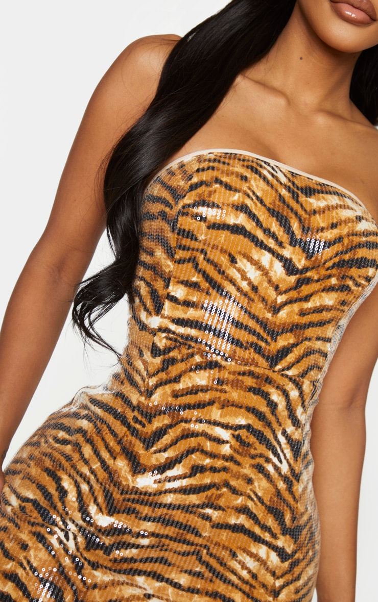 Shape Brown Tiger Print Bandeau Sequin Bodycon Dress 4