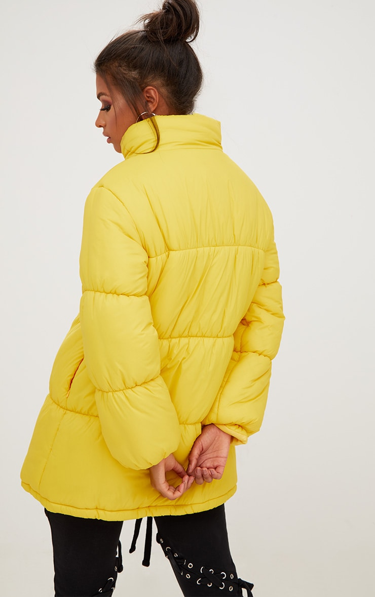 Yellow Ring Pull Longline Puffer Jacket 2