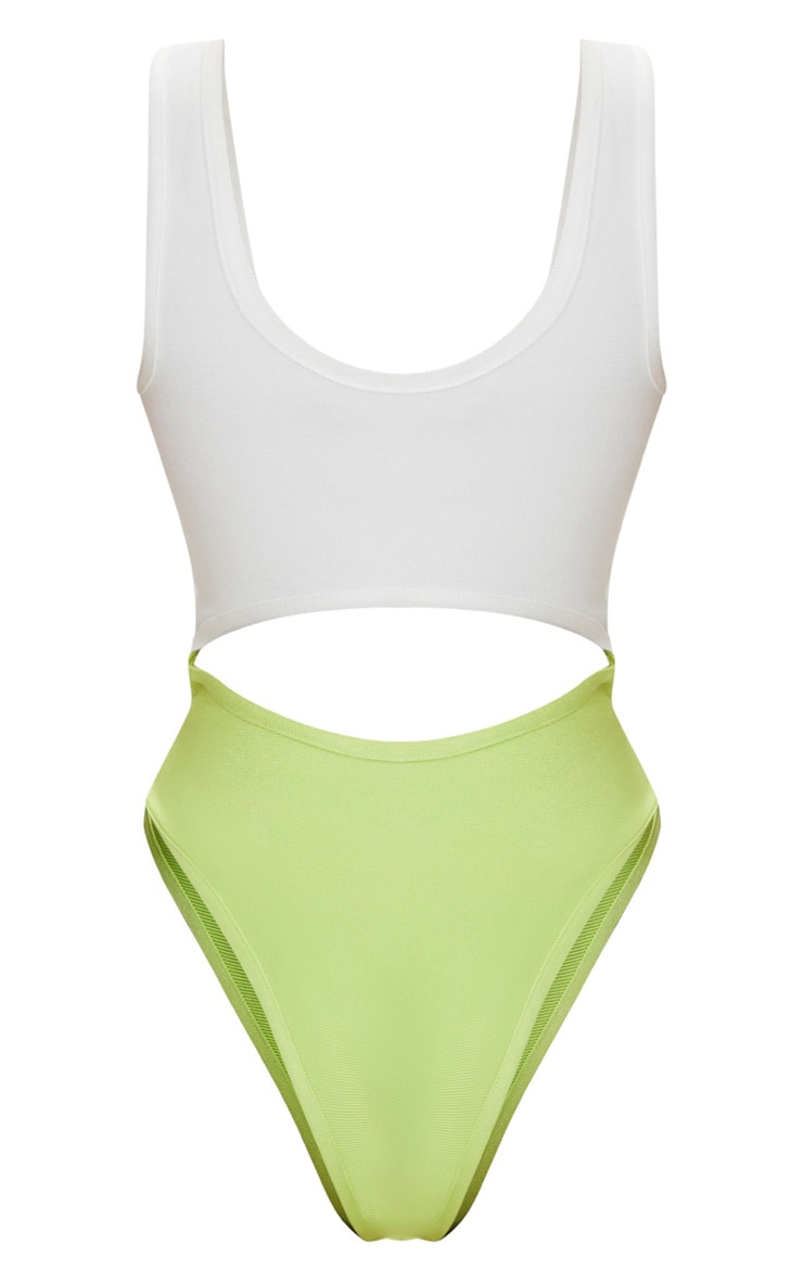 Lime Cut Out Zip Front Bandage Swimsuit 4