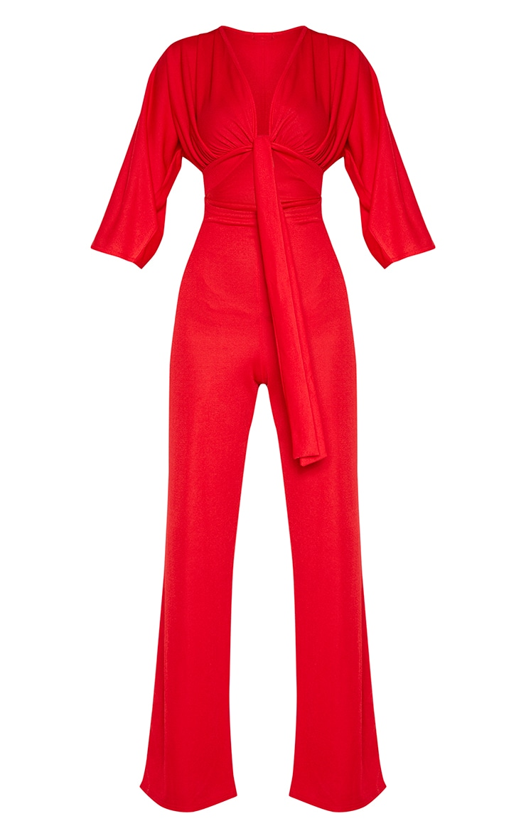 Tall Red Crepe Batwing Cut Out Jumpsuit 3