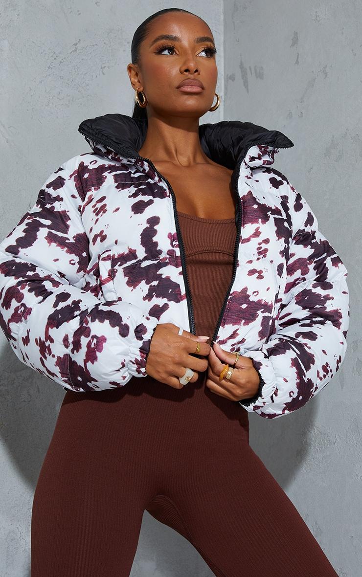 Black Cow Print Reversible Zip Up Puffer Jacket 1