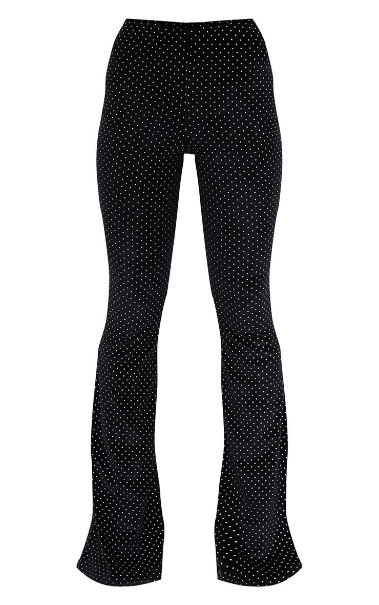 Petite Black Studded Velvet Flared Trousers 3
