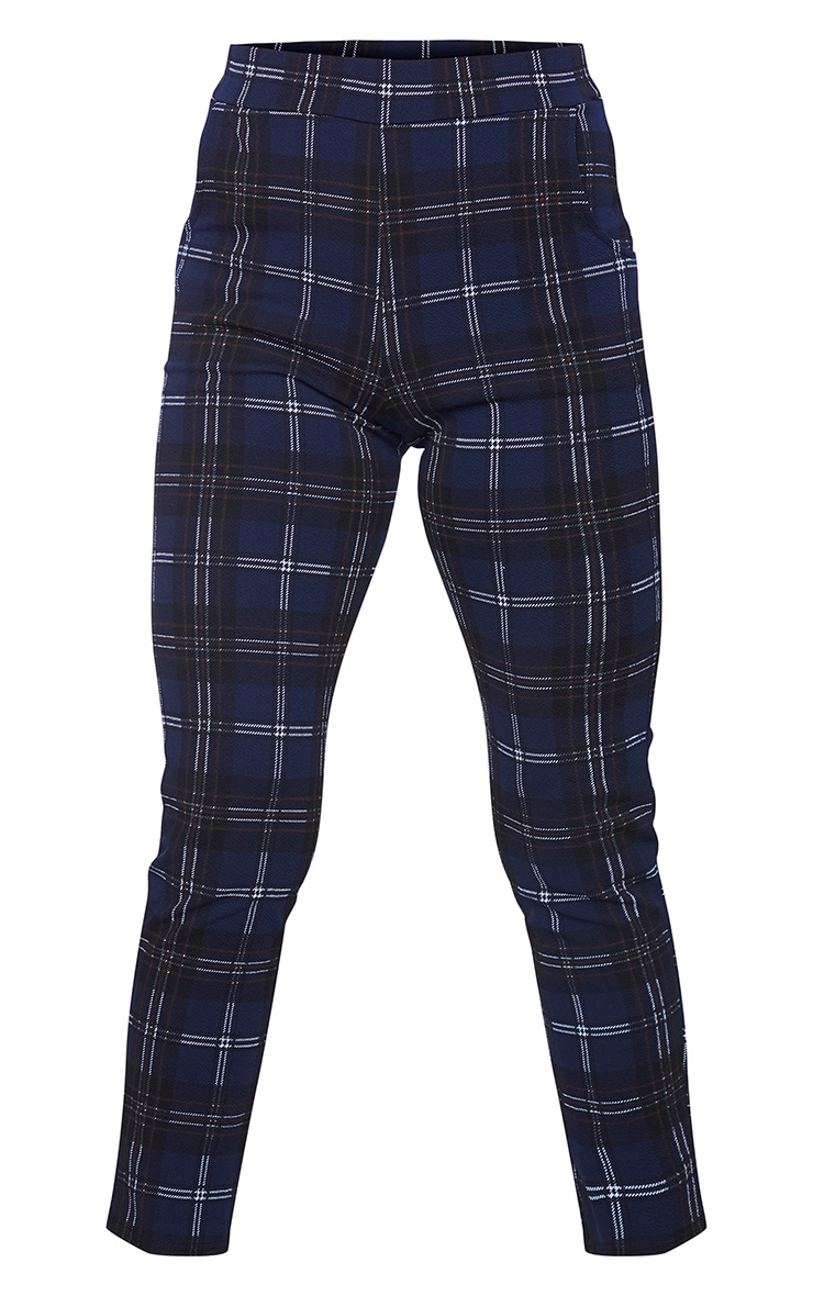 Navy Check Skinny Trousers 5