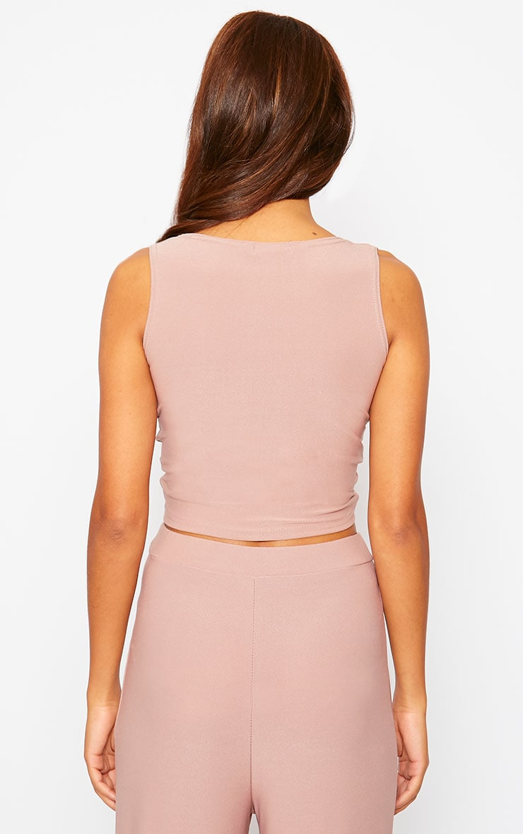 Zuri Dusty Pink Crepe Sleeveless Knot Front Crop Top 2