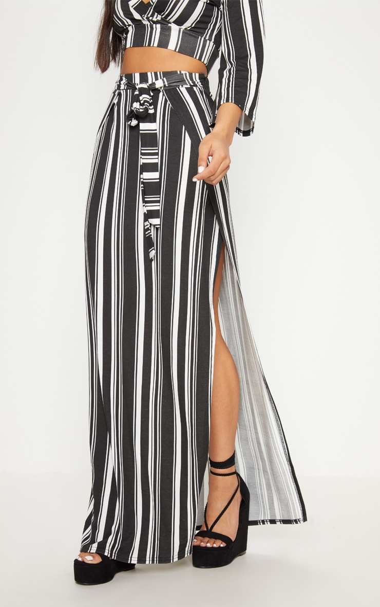 Black Jersey Extreme Split Maxi Skirt 2