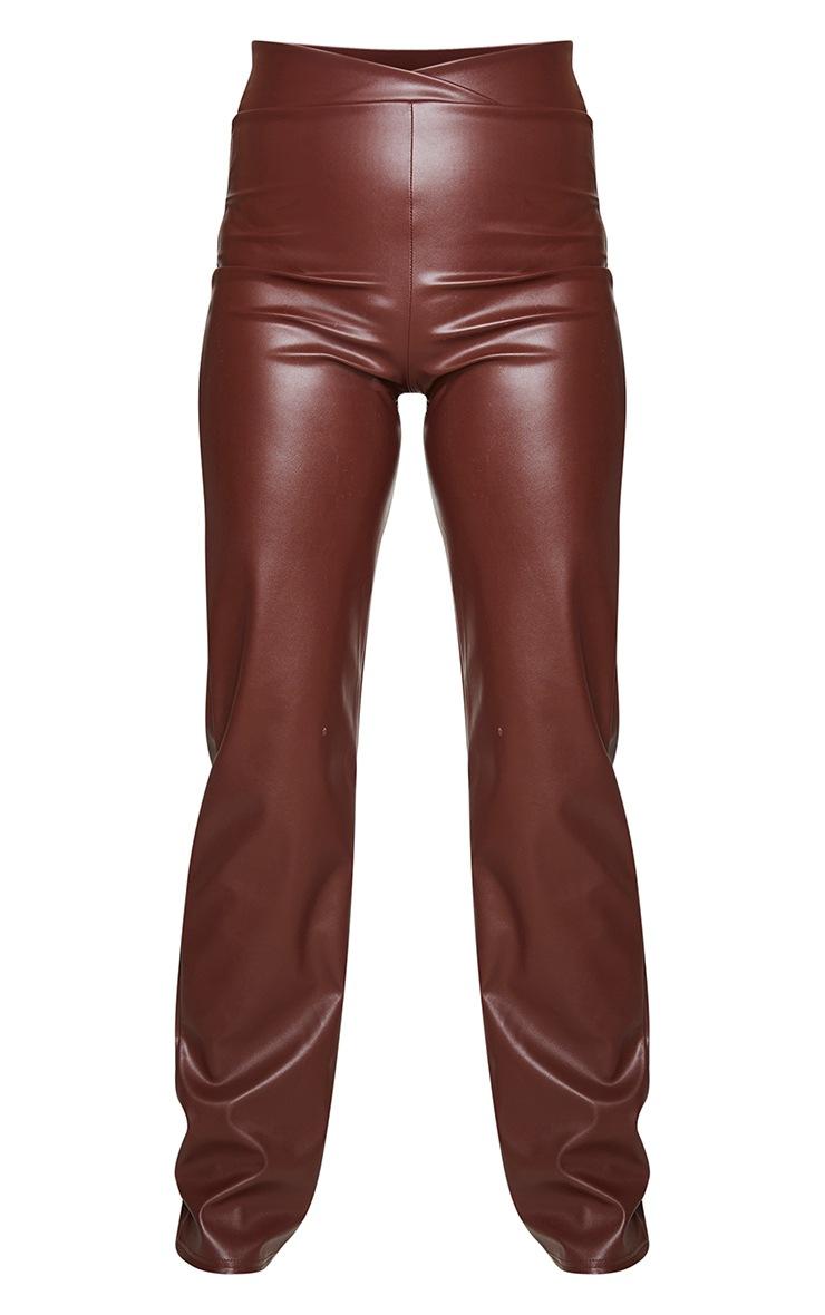 Chocolate Dip Waist Straight Leg Faux Leather Pants 5