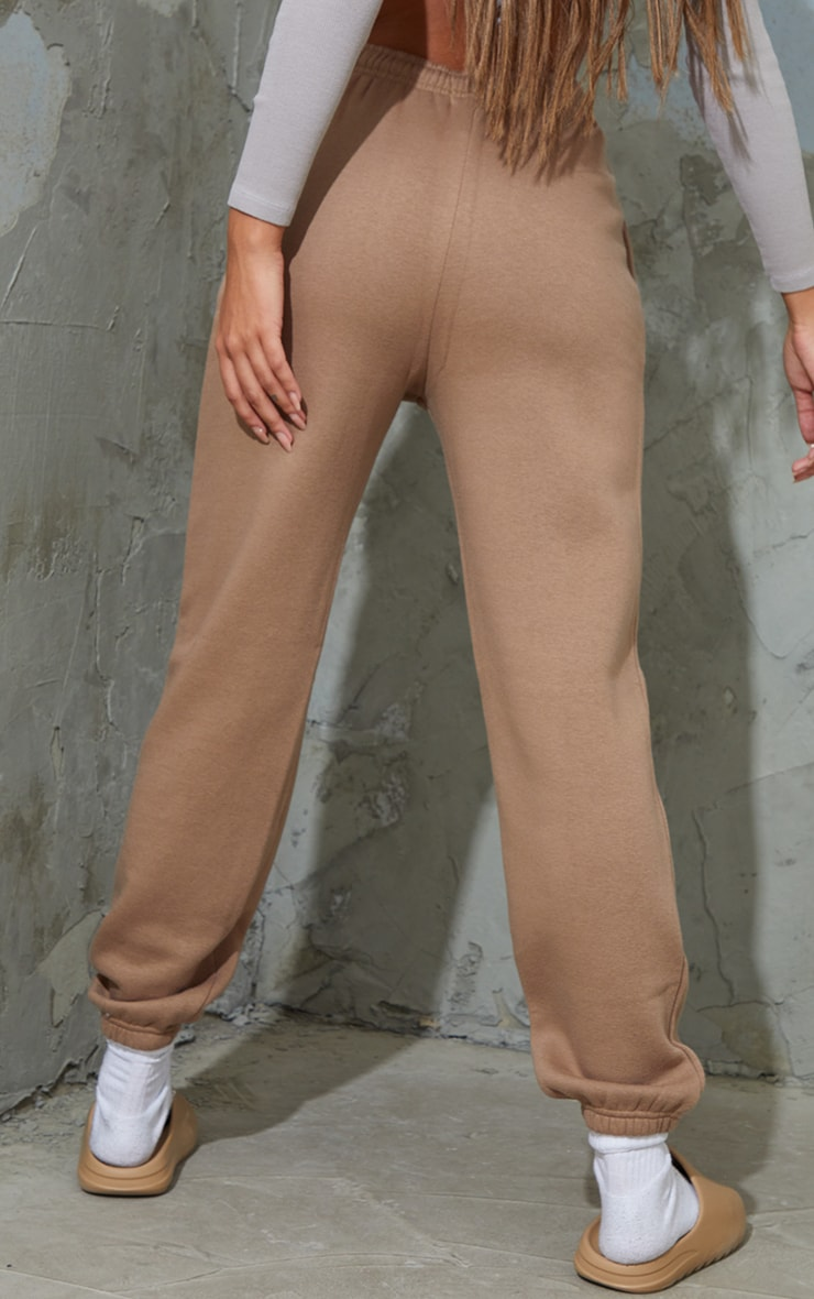 PRETTYLITTLETHING Taupe Block Embroidered Joggers 3