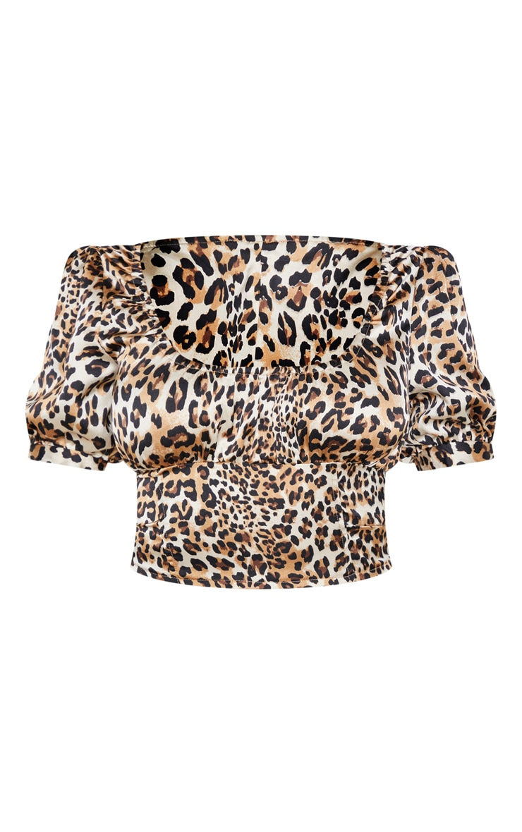 Petite Leopard Puff Sleeve Cropped Blouse  3