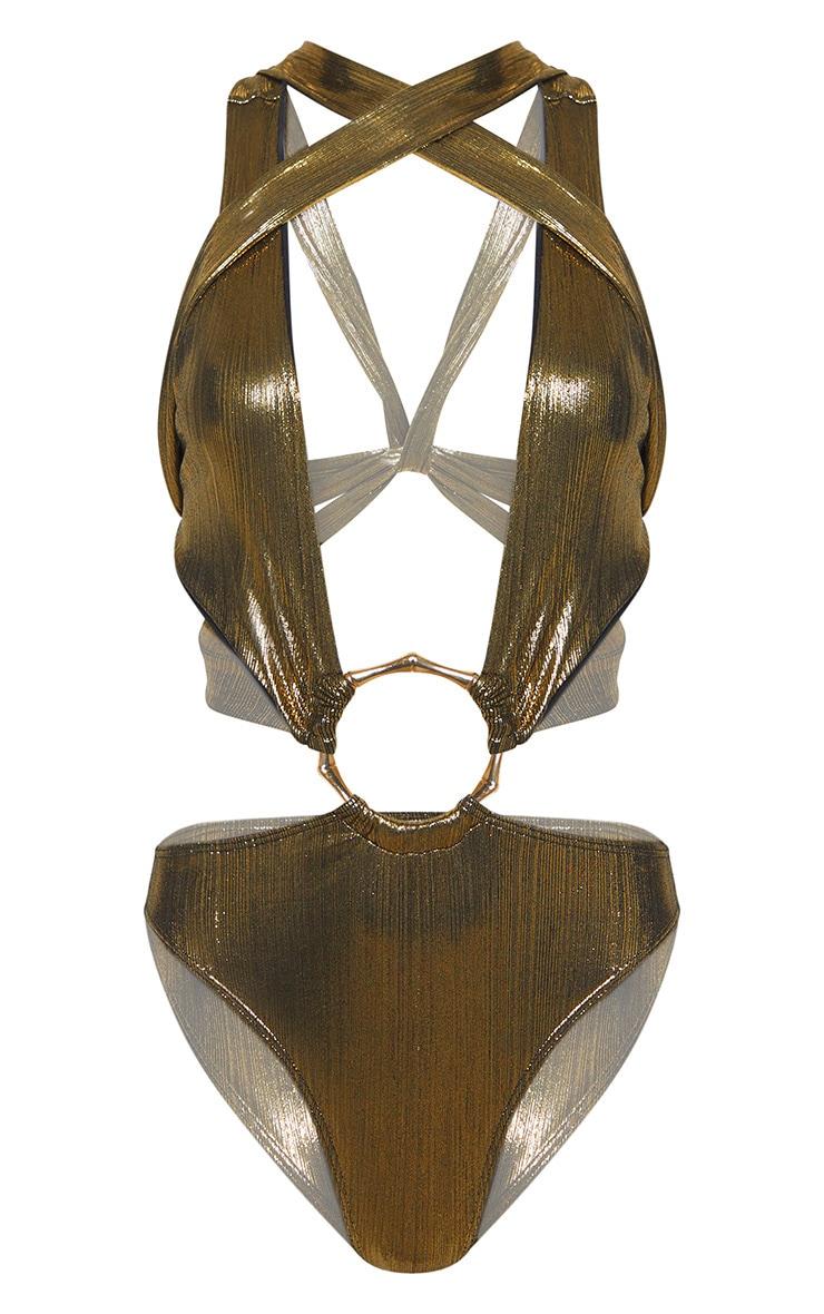 Gold Bamboo Ring Metallic Wrap Swimsuit 3