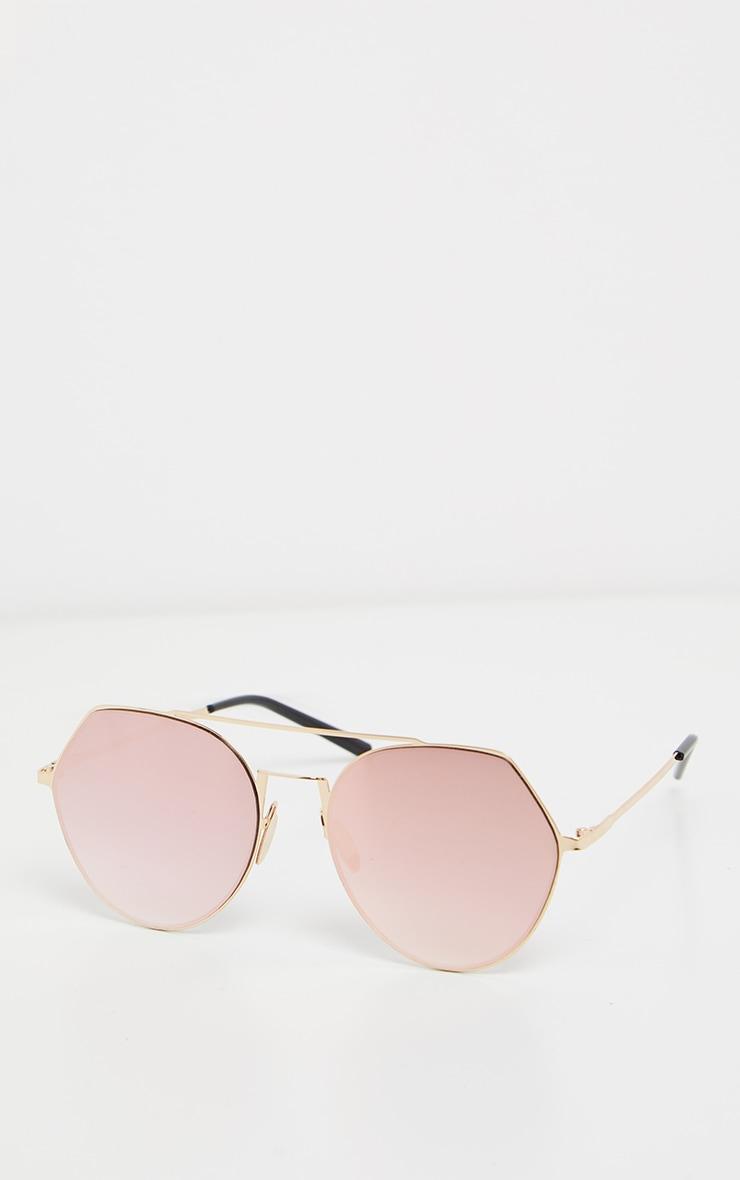 Pink Angled Corner Aviator Sunglasses 2