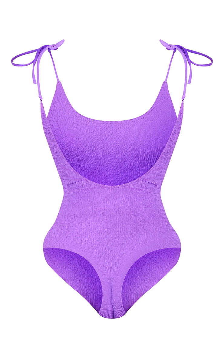 Purple Crinkle Tie Shoulder Swimsuit 6