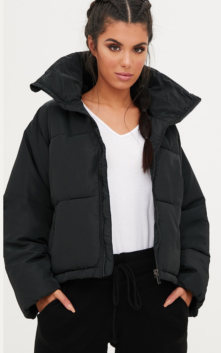 Black Cropped Puffer Jacket 1