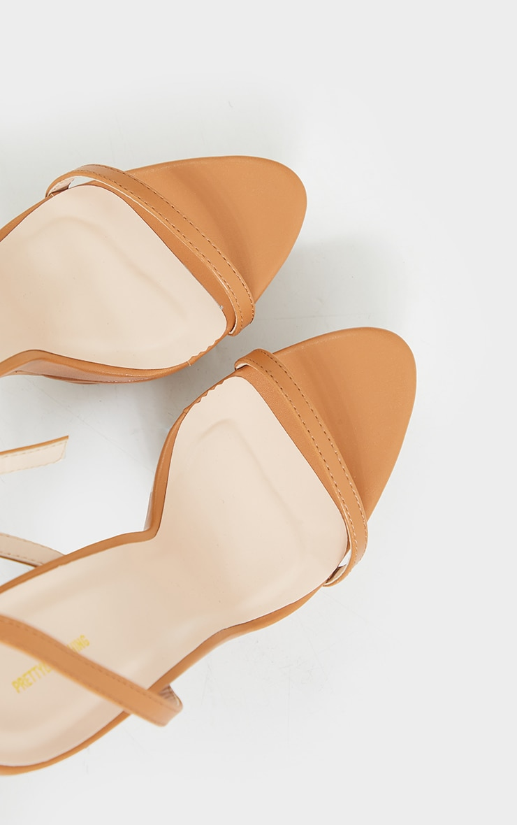 Tan PU Platform Strappy High Heel 3