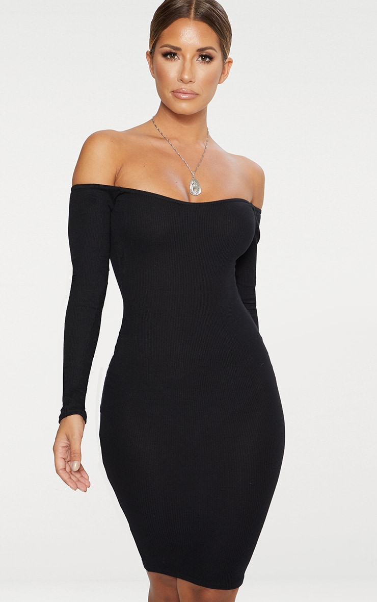 Black Bardot Ribbed Long Sleeve Midi Dress 1