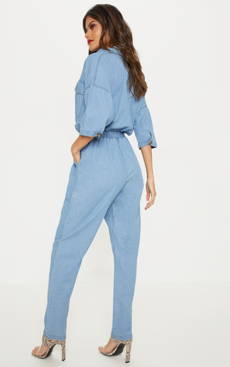 Light Wash Tortoise Button Chambray Jumpsuit  2