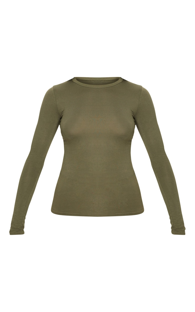 Basic Khaki Fitted Long Sleeve T Shirt 3