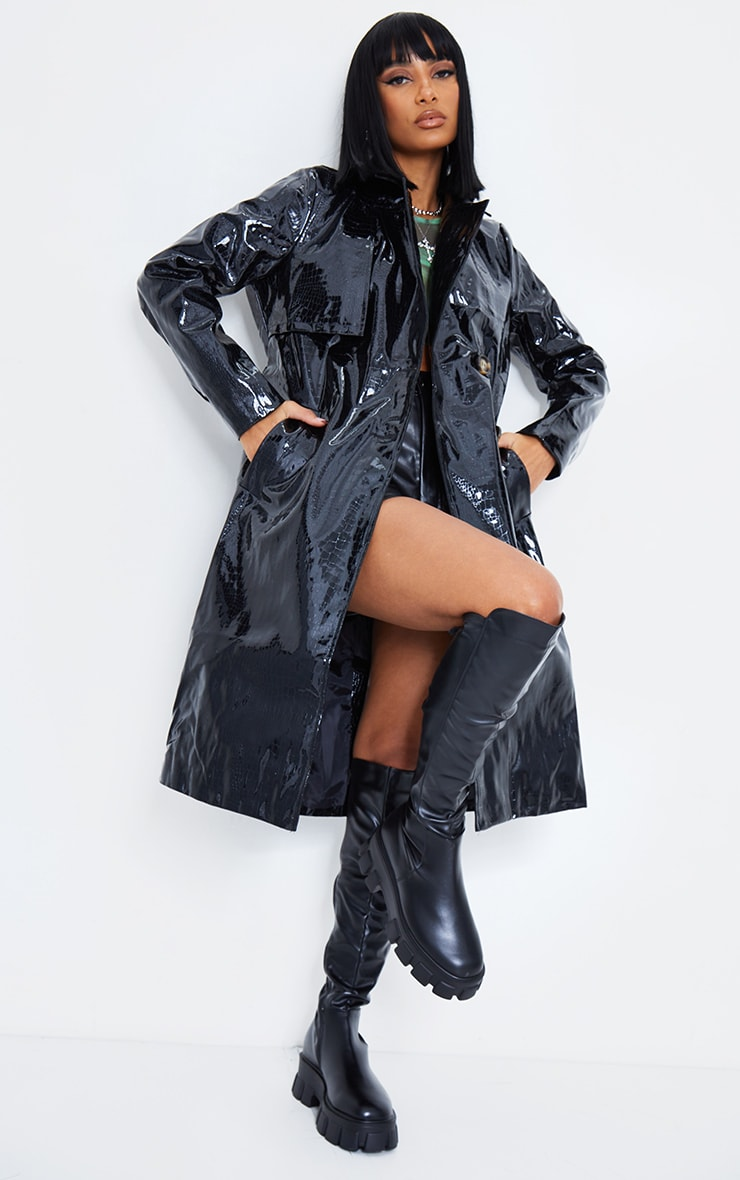 Black Croc PU Trench 2