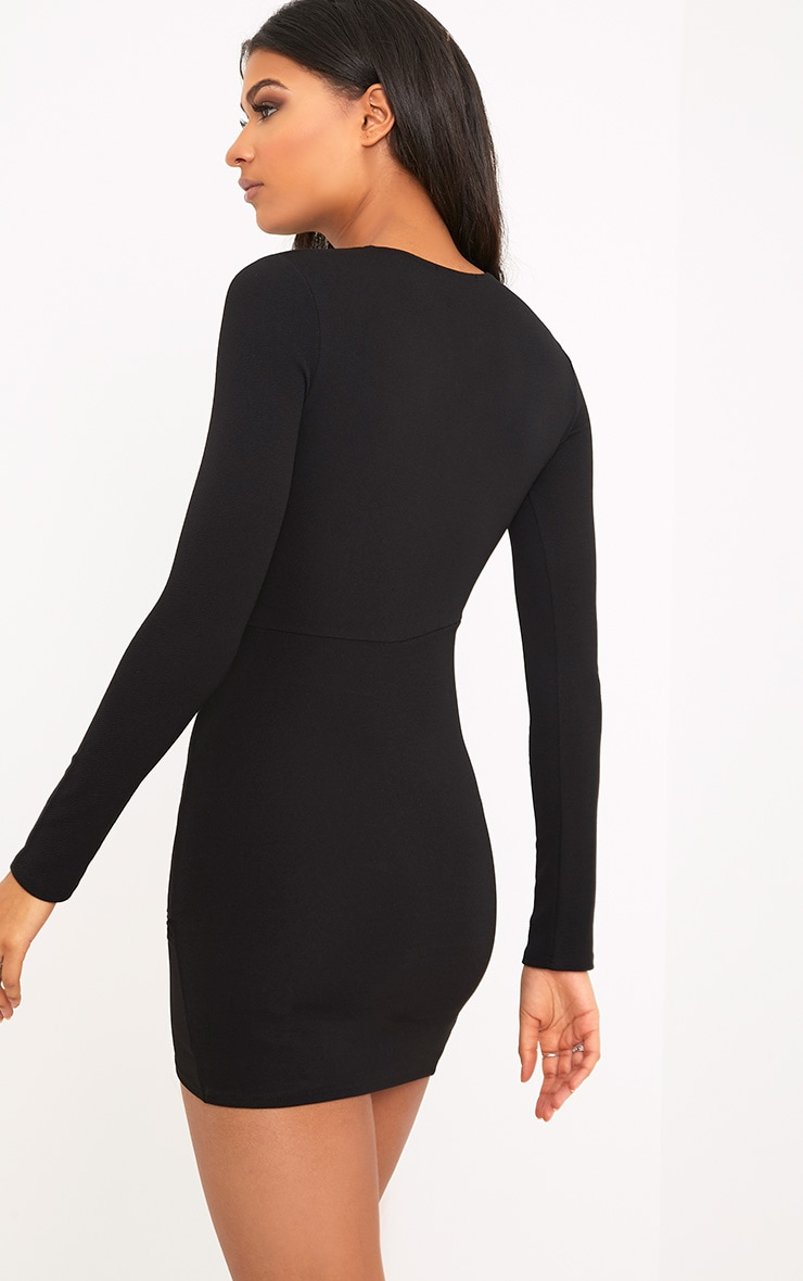 Black Long Sleeve Wrap Skirt Bodycon Dress 2