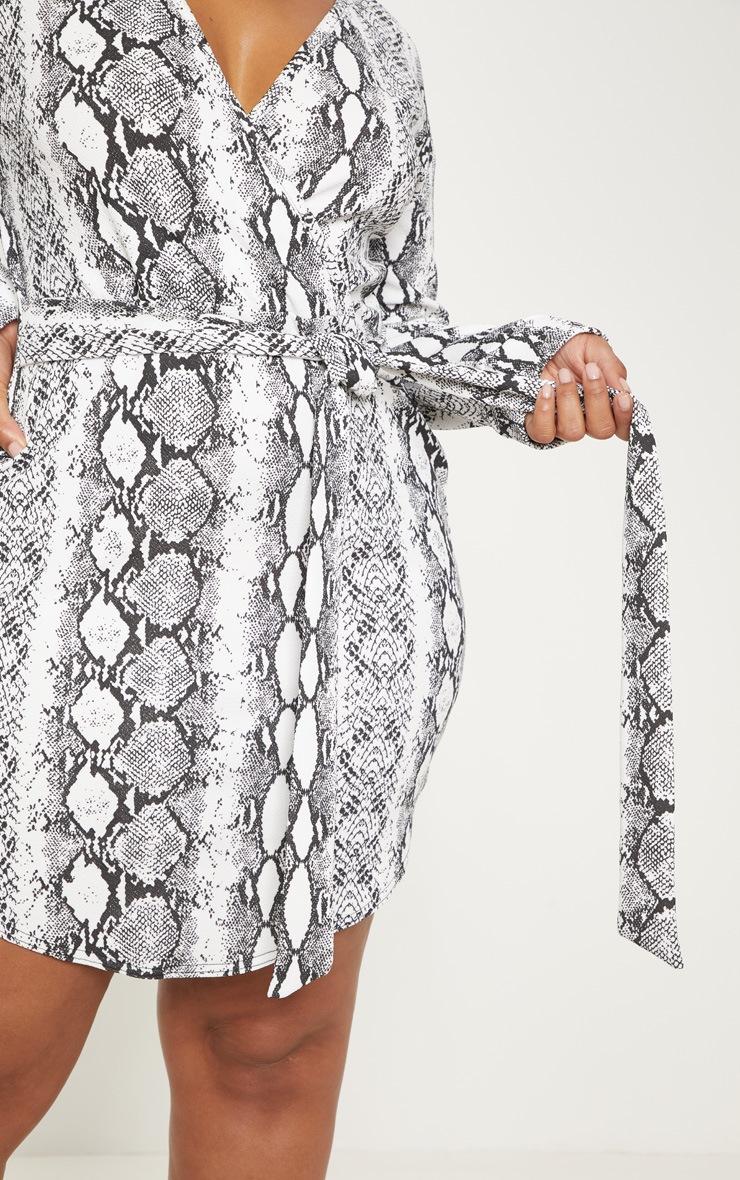 Plus White Snake Print Wrap Detail Shift Dress 5